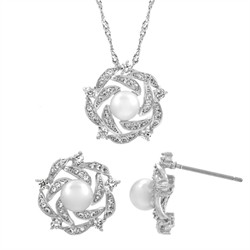 Maisey's Earring & Necklace Cluster CZ & Pearl Set