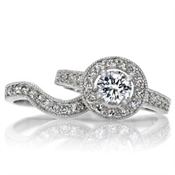 Alesias Round Cut Halo Cz Wedding Ring Set