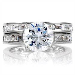 Araceli's Round & Baguette CZ Wedding Ring Set
